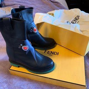 FENDI 100% Authentic Black+MYRTLE Booties size 36